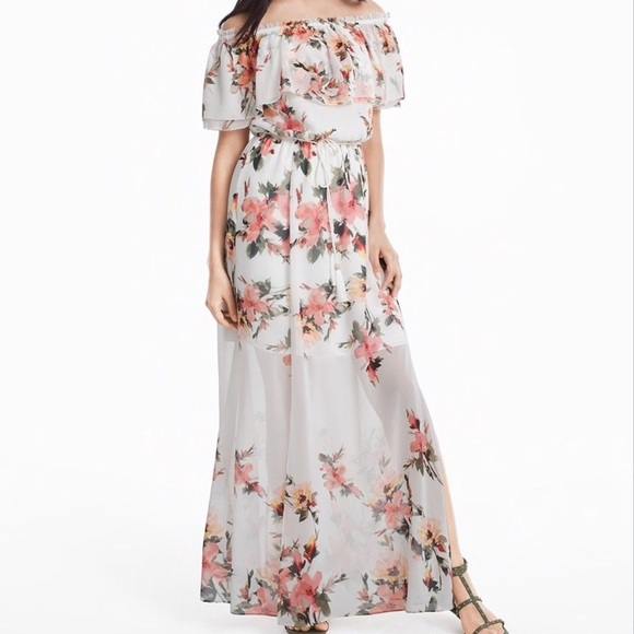 1ee08771668e Off Shoulder Spring Floral Maxi Dress Pink White. M 5aa98933caab44247bfd76a3